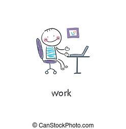illustration., hivatal, worker.