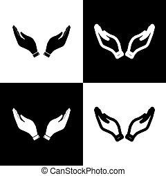 illustration., ikonok, jelkép., kéz, fekete, sakkjáték, vector., könyörgés, board., white megtölt, ikon