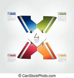 illustration., infographic., vektor, lépések, 4, összekapcsolt