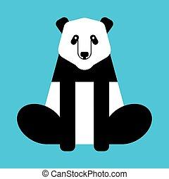 illustration., isolated., hord, vektor, kína, állat, vad, panda
