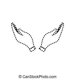 illustration., isolated., istenverte, jelkép., kéz, háttér., fekete, vector., könyörgés, fehér, ikon