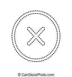 illustration., isolated., istenverte, kereszt, aláír, háttér., fekete, vector., fehér, ikon