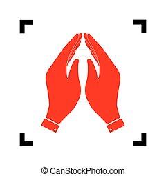 illustration., isolated., kanyarodik, belső, jelkép., összpontosít, háttér., fekete, vector., könyörgés, fehér, kéz, piros, ikon