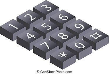 illustration., isometric, belépés, ijedtség, keypad, ábra, telefon, vektor, hívás, dialer, digitális, billentyűzet, biztonság, 3