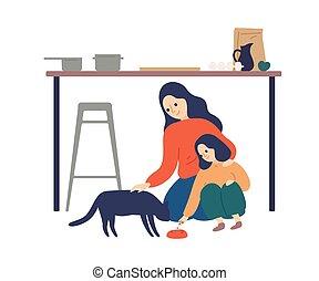 illustration., költés, lakás, konyha, gyermek, törődik, tanítás, white., bevétel, idő, boldog, vektor, nő, lány, csinos, élelmezés kisállat, élvez, anya, körülbelül, szülő, macska, anyaság, elszigetelt, kölyök, törődik