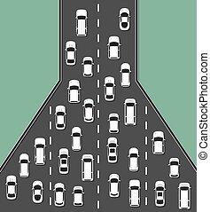 illustration., kilátás, tető, dzsem, fogalom, forgalom