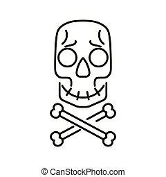 illustration., koponya, arc, vektor, karikatúra, keresztezett lábszárcsontok