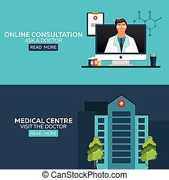 illustration., orvos., meglátogat, orvosi health, online, kérdez, care., kórház, consultation., centre.