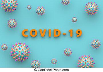 illustration., orvosi, háttér., coronavirus., kék, felírás, fogalom, covid-19, 3