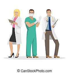 illustration., orvosi, munka, három, clothes., vektor, orvosok