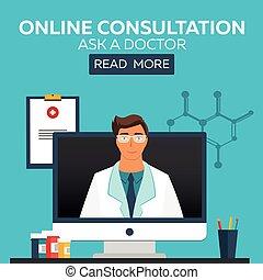illustration., orvosi, online, kérdez, orvos., consultation.