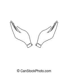 illustration., pontozott, isolated., jelkép., kéz, háttér., fekete, vector., könyörgés, fehér, ikon