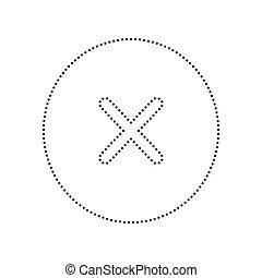 illustration., pontozott, isolated., kereszt, aláír, háttér., fekete, vector., fehér, ikon