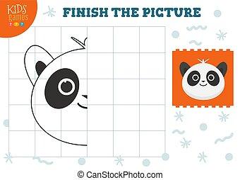 illustration., preschool, vektor, befejez, másol, játék, film, gyerekek, színezés