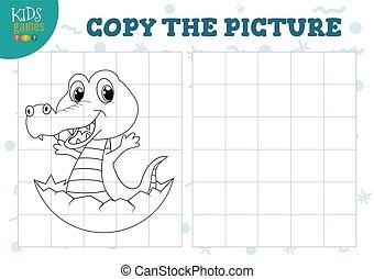 illustration., preschool, vektor, nevelési, másol, játék, film, gyerekek