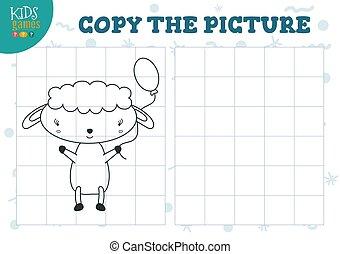 illustration., preschool, vektor, rács, nevelési, másol, rejtvény, mini, játék, film, gyerekek