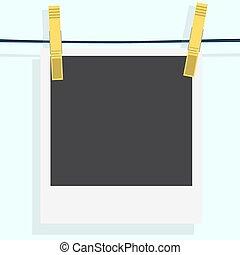 illustration., ruhacsipesz, fénykép keret, száradó, polaroid, elszigetelt, háttér., vektor, photo., realistic., fehér