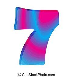 illustration., seven., vektor, szám, színes, elvont