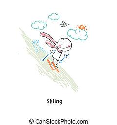 illustration., skier.