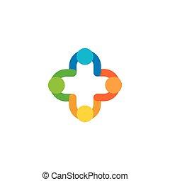 illustration., színes, logotype., orvosi, elszigetelt, elvont, kereszt, vektor, plusz, mentőautó, kórház, logo., cégtábla.
