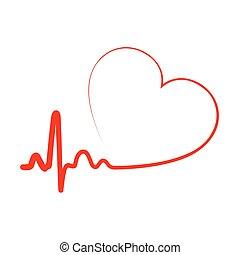 illustration., szív, vektor, icon.