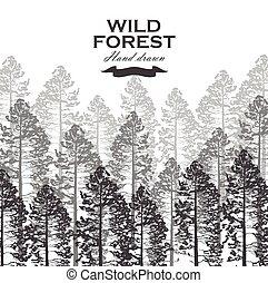 illustration., táj, vektor, háttér., fa, sóvárog erdő, vad, nature.
