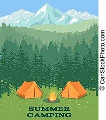illustration., tisztás, vektor, kempingezés sátor, természetjáró, erdő