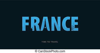 illustration., utazás, sights., travel., körvonal, vektor, idő, bunner, france.