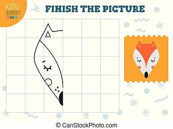 illustration., vektor, befejez, másol, játék, film, színezés