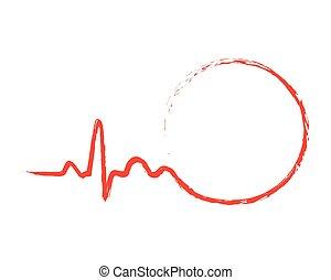 illustration., vektor, húzott, circle., szívdobbanás, ikon