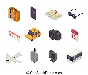 illustration., vektor, ikon, isometric, utazás, ikon