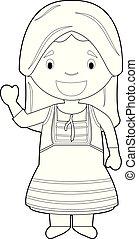illustration., vektor, irány, könnyen, ciprus, karikatúra, hagyományos, színezés, öltözött, betű