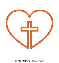 illustration., vektor, kereszt, belső, keresztény, heart.