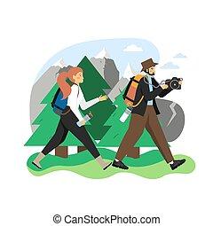 illustration., vektor, kiránduló, palack, hátizsák, víz, színhely, párosít, hiking., lakás, utazó, fényképezőgép, haladó, túrázik