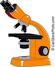 illustration., vektor, mikroszkóp