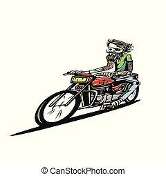 illustration., vektor, motorkerékpár, lovaglás, út, ember