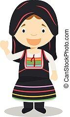 illustration., világ, collection., vektor, irány, ciprus, hagyományos, gyerekek, öltözött, betű