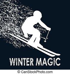 illustration-winter, varázslatos, síelő