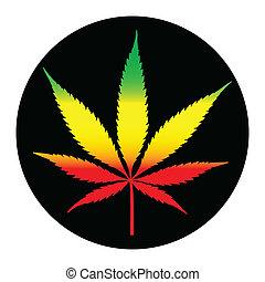 illustreation, levél növényen, marihuána