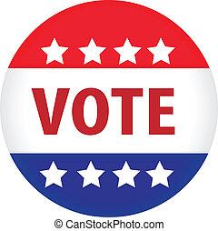 illusztrált, szavaz, kép, gombol