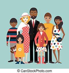 ilustration, család, felfordulás életpálya, 5, vector., children., karikatúra