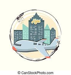ilustration, utazás, repülés, szünidő, vektor, repülőgép, ikon