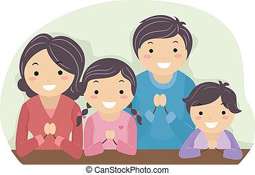 imádkozás, család