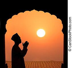 imádkozás, hím, dezertál, muzulmán, árnykép