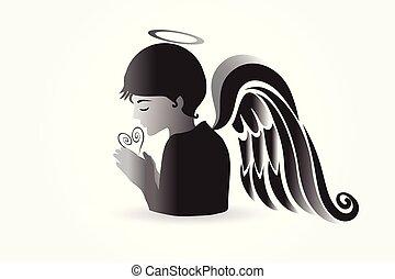 imádkozás, jel, vektor, angyal