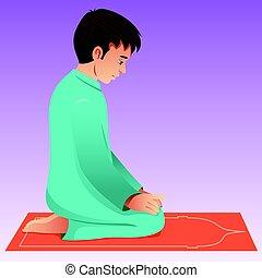 imádkozás, muzulmán, ember