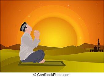 imádkozás, napnyugta, háttér, ember
