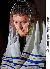 imádkozás, ortodox, zsidó, ultra, morning., ember