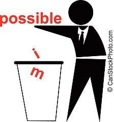 im, siker, lehetséges, dobás, ügy, el, fogalom