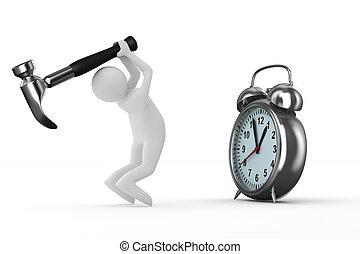 ima, óra, ijedtség, elszigetelt, repair., 3